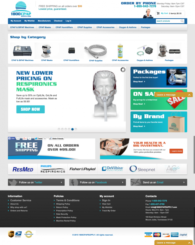 1800CPAPSupply Homepage