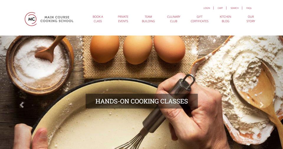 Main Course Cooking School Magento Website