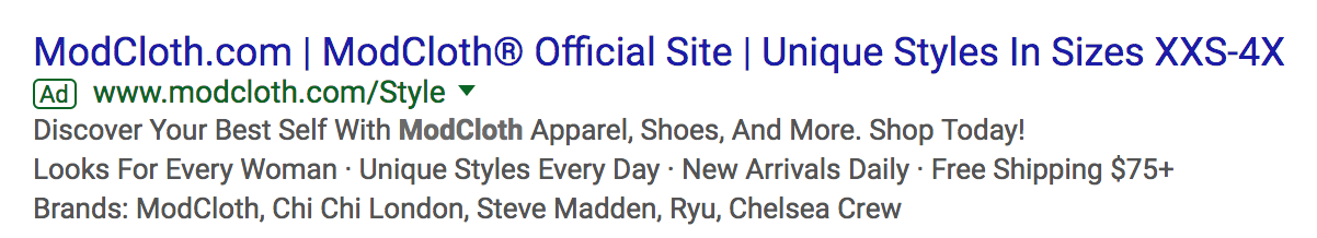 ModCloth Search Engine Result
