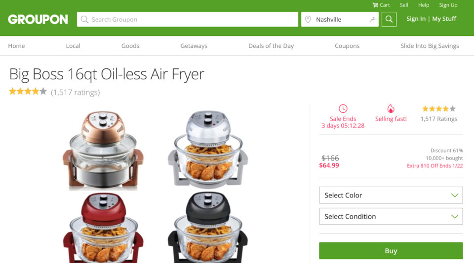 Groupon Scarcity Timers