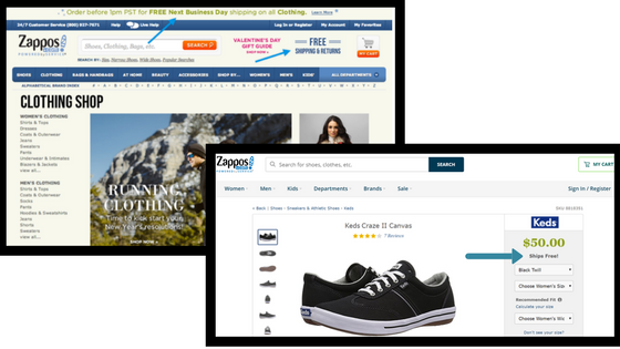 Zappos Free Shipping Multiple Pages