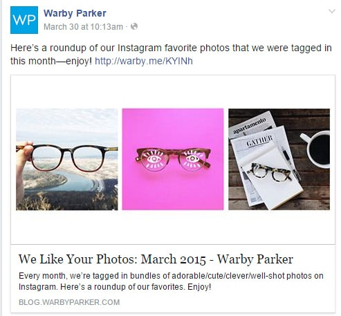 Warby Parker User Generated Content Example