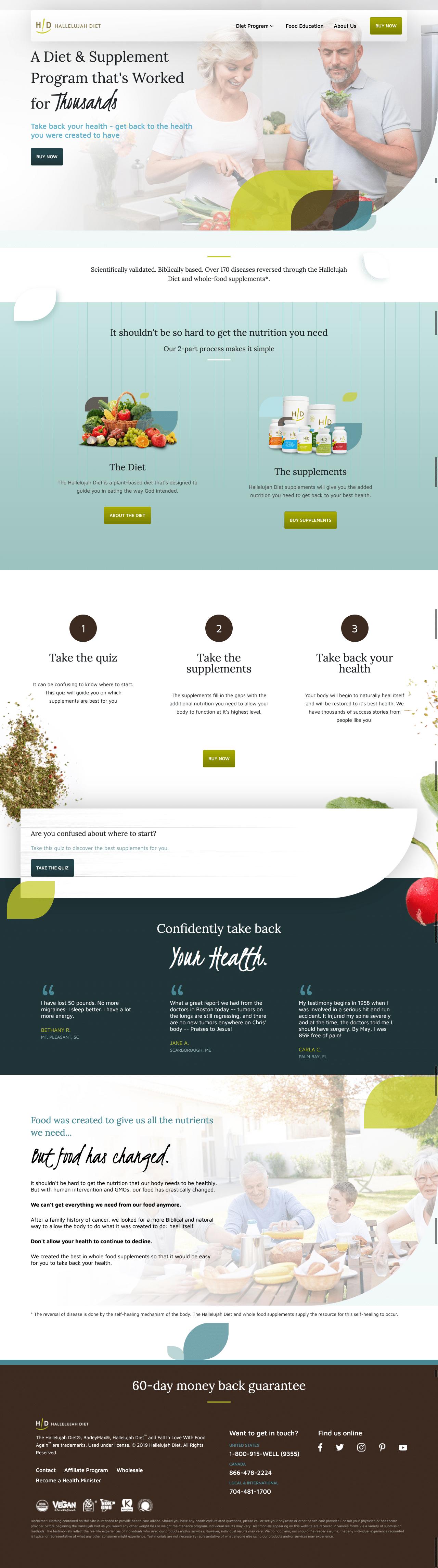 Hallelujah Diet Homepage