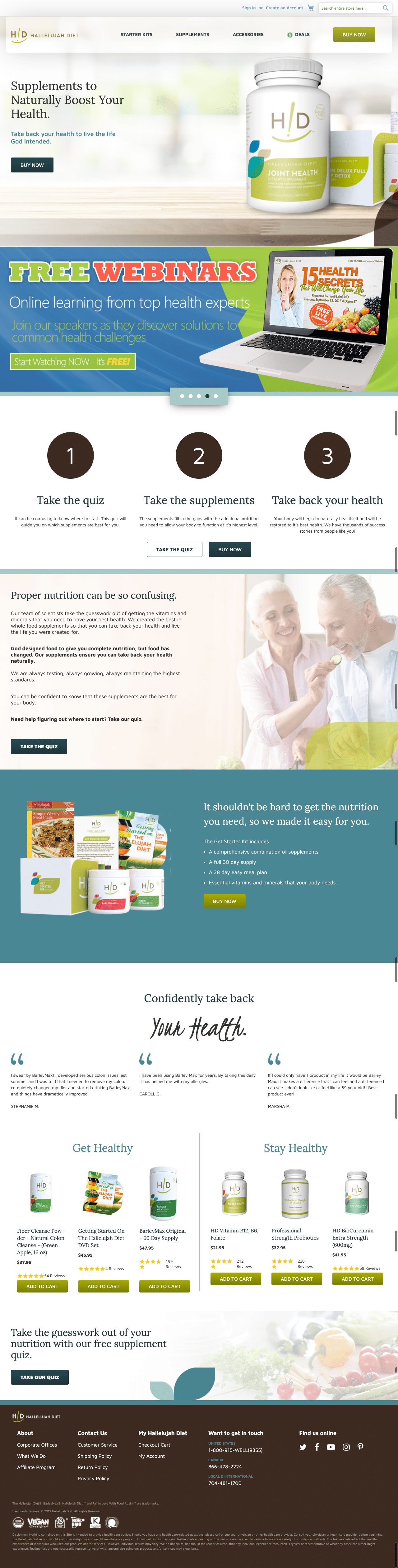 Hallelujah Diet shop homepage