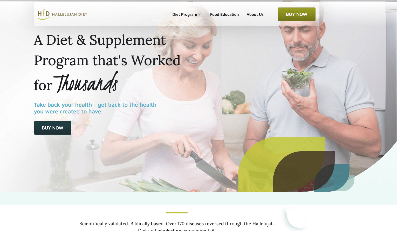 Hallelujah Diet website preview
