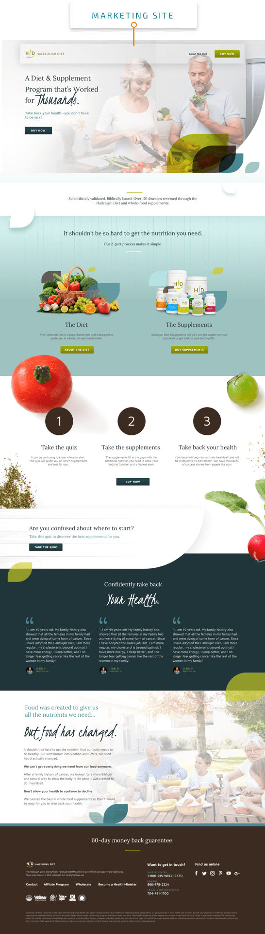 hallelujah diet marketing website preview