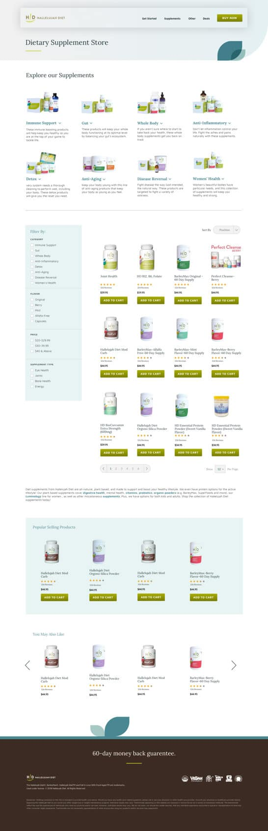 hallelujah diet supplements category page design
