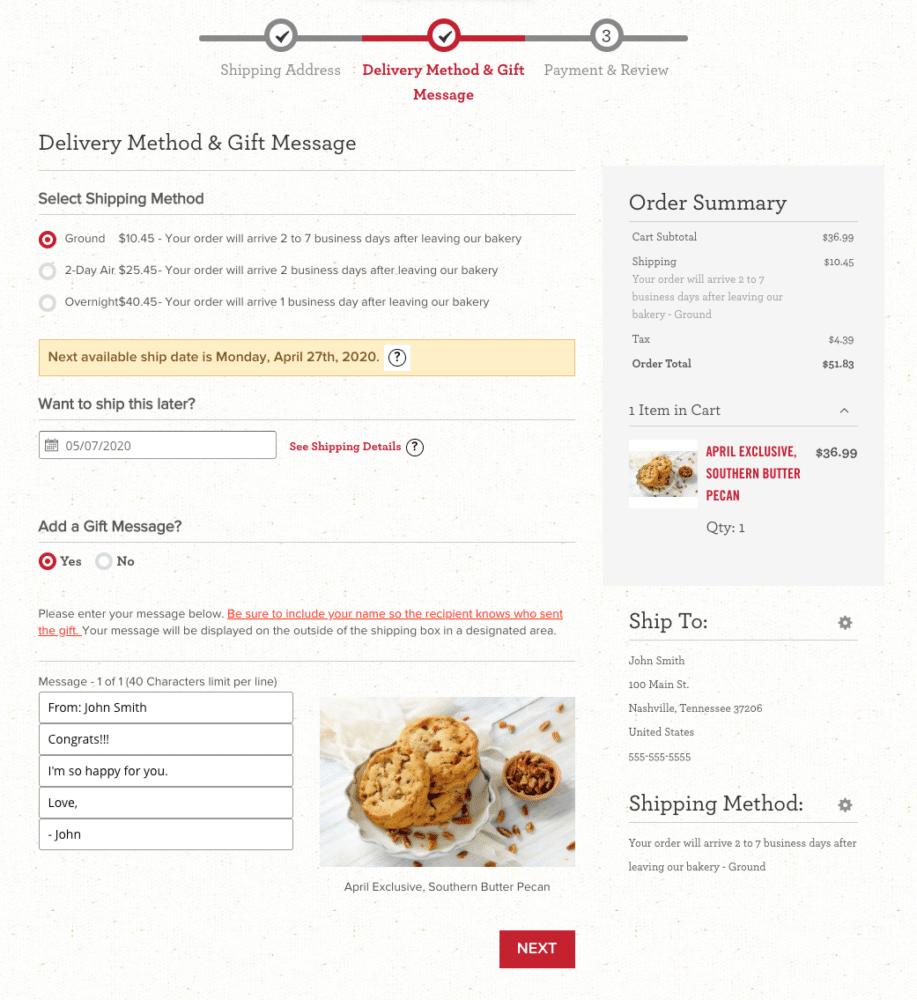 christie cookie checkout - step 2