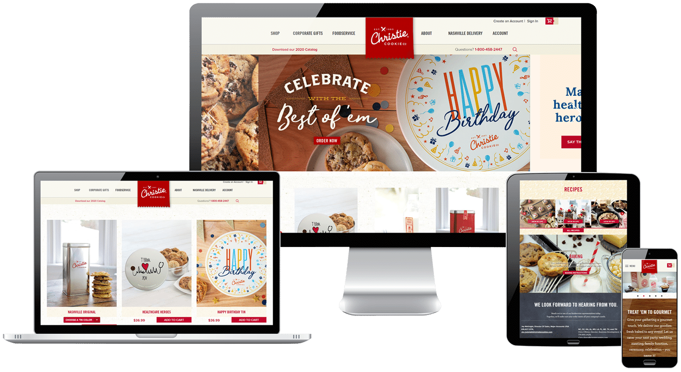 collage of the christie cookie website